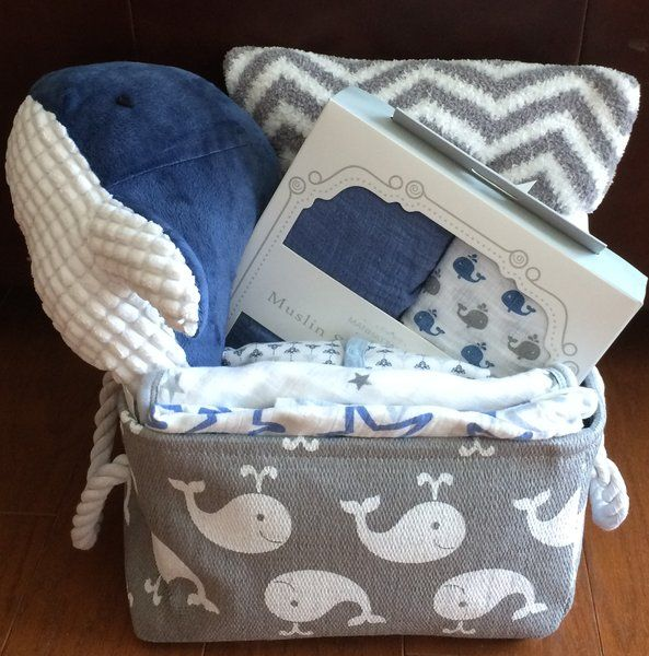 Winston Whale Baby Basket