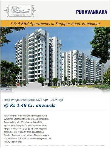Purva Whitehall Bangalore Call 9555666555 : Purvankara builder launches their latest residential apartments Purva Whitehall which is located at Sarjapur Road Bangalore. Purva Whitehall offers 3 & 4 BHK apartments with the size range from 1936 to 2425 sq. ft.  Purva Whitehall Bangalore Visit Our Site:- http://www.allcheckdeals.com/project-purva-whitehall-bangalore.php | pankajacd1