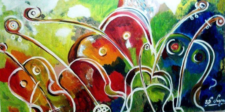 Renkli Çiçekler 3, Kemanlar Müzik Aletleri Kanvas Tablo