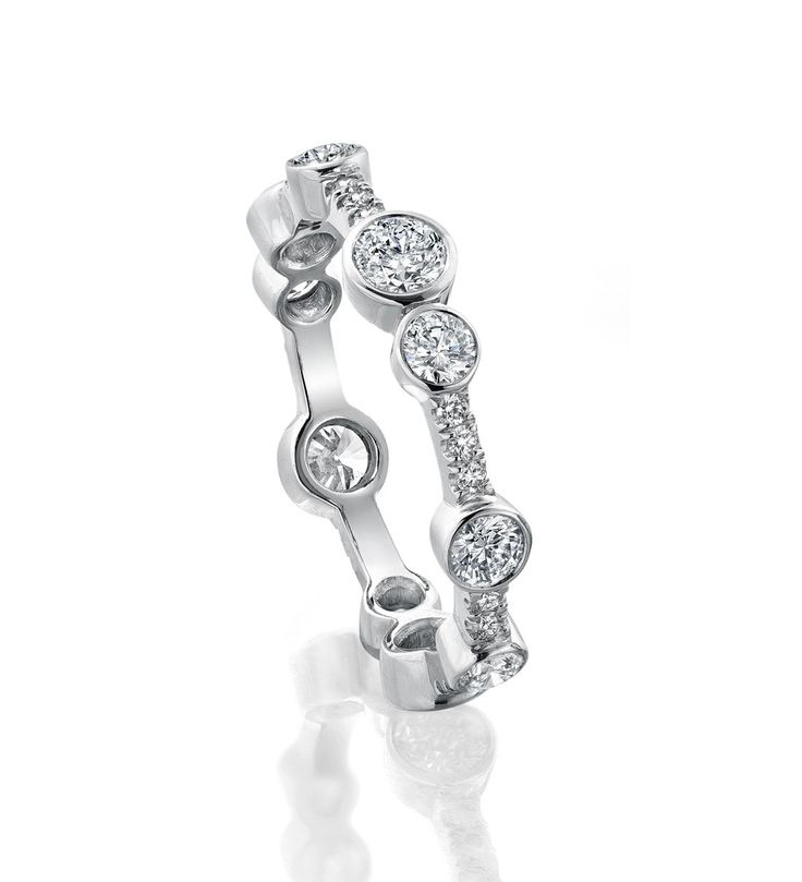 Full-Hoop Waterfall Ring. In platinum with 1.12ct of diamonds