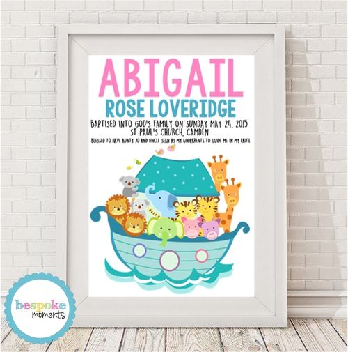Girl's Noah's Ark Christening Print by Bespoke Moments. Worldwide Shipping Available.