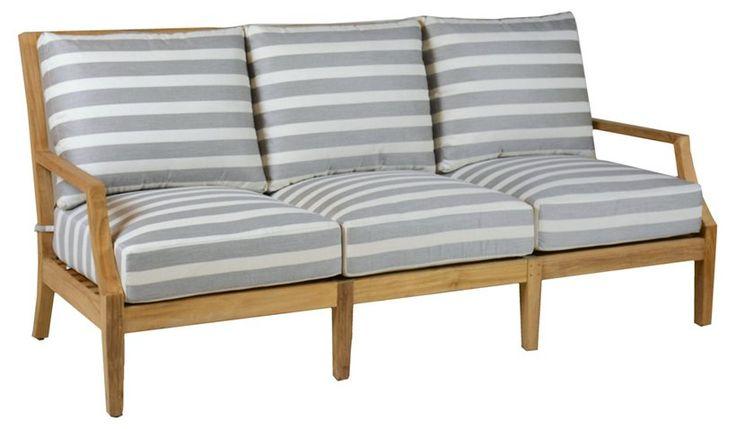 Aviva Teak Sofa, Gray/White Sunbrella - Outdoor Lounge Furniture - Outdoor Furniture - Outdoor   One Kings Lane