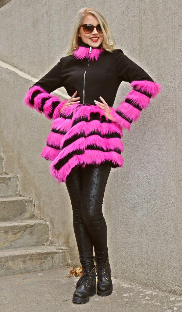 Just launched! Black Wool Coat, Black Cashmere Winter Coat, Fantasy Fur Coat, Winter Coat with Fantasy Fur TC58, Hot Pink Fur Coat by TEYXO https://www.etsy.com/listing/257804964/black-wool-coat-black-cashmere-winter?utm_campaign=crowdfire&utm_content=crowdfire&utm_medium=social&utm_source=pinterest