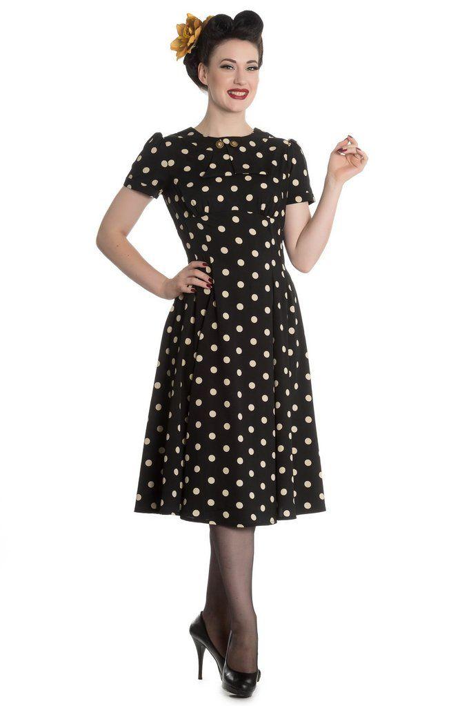50 S Retro Vintage Sweet Office Lady Black Mod Polka Dot Dress In 2020 Vintage Inspired Fashion Vintage Fashion Dot Dress