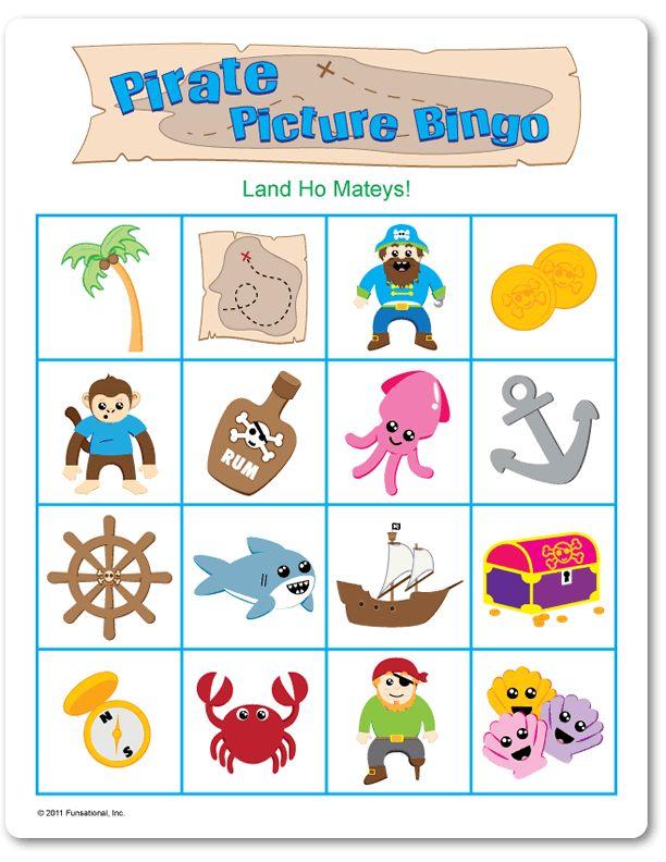 Printable Pirate Picture Bingo - Games for Non-Readers