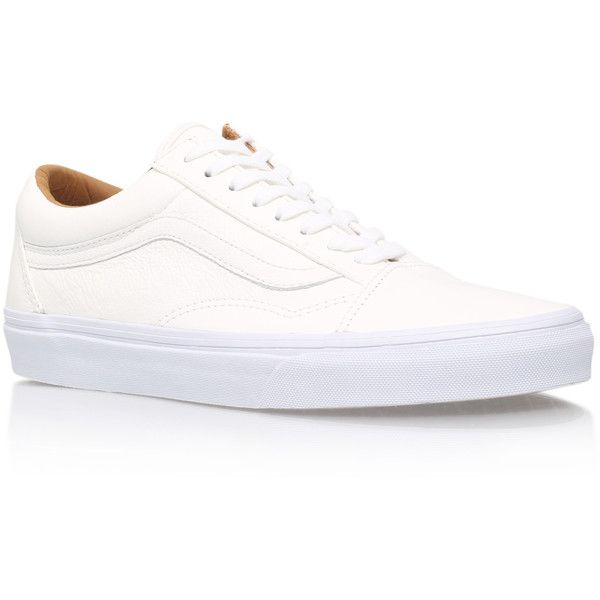 Old Skool Leather Vans White ($94) ❤ liked on Polyvore featuring men's fashion, men's shoes, men's sneakers, white, mens leather sneakers, mens leather shoes, mens white shoes, mens white sneakers and vans mens shoes