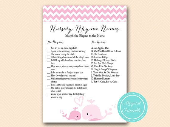 nursery rhyme game nursery rhyme matching game baby girl pink whale baby shower games printable baby shower activities download tlc117