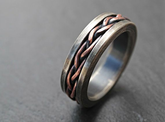 rustic braided ring silver copper cool mens ring two by CrazyAssJD