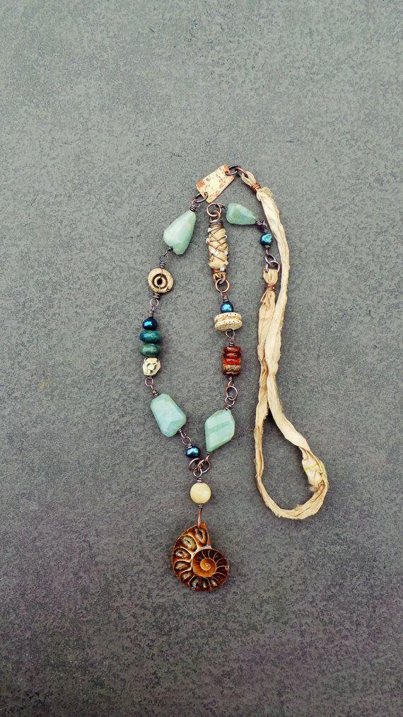 Sharon Borsavage - SEA QUEEN necklace, ammonite mixed media sari silk by livewirejewelrysb