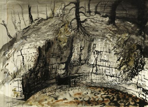 John Piper, The Entrance to Yordas Cave, Yorkshire, mid- to late-1940s, pen and ink, watercolour heightened with bodycolour, 40.6 x 53.3 cm.