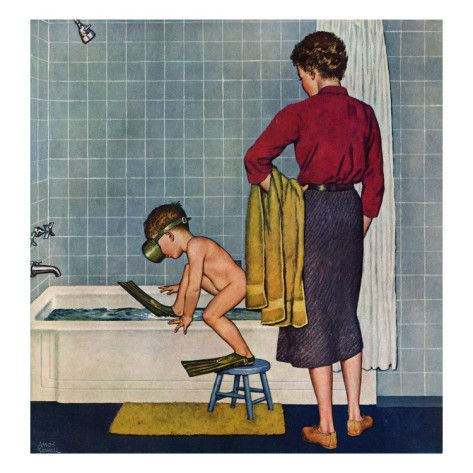 "A nice warm bath! ""Scuba in the Tub"", November 29, 1958 Giclee Print by Amos Sewell."