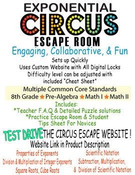 Exponent Rules Escape Room ~Roots~Scientific Notation~Digital Locks Breakout~