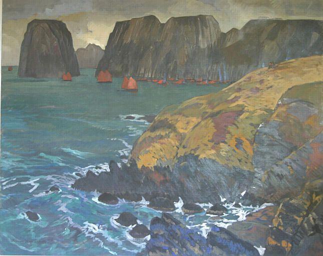 JEAN-HAFFEN Yvonne.  Les Tas de Pois. Une flottille au pied des falaises.  2e quart 20e siècle.  Brittany