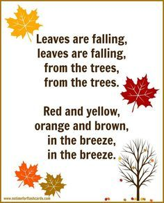 Fall Song For Preschool with FREE Printable Lyrics