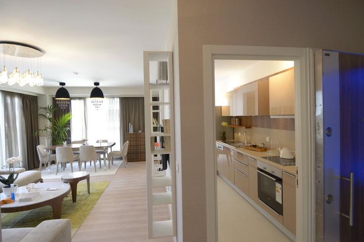 Dumankaya Modern Vadi Örnek Daire - Salon ve mutfak