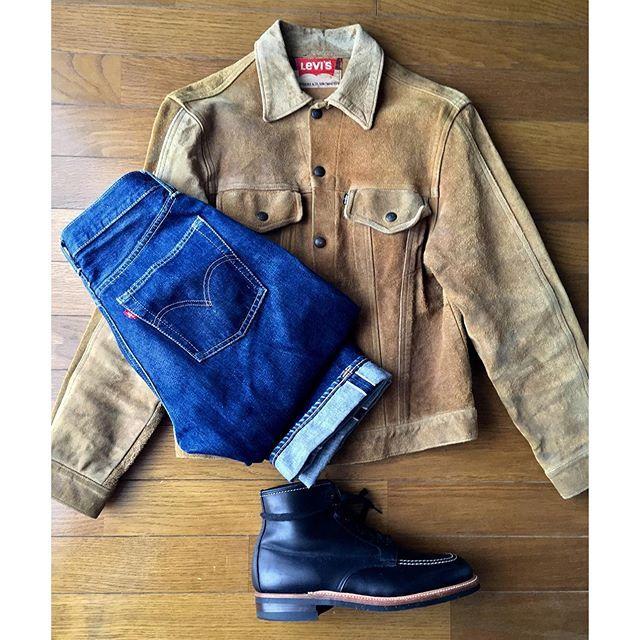 """2016/10/10 09:38:37 aki_kawaguchi26 American casual style  Levi's  suède jacket BIG E Levi's 501 BIG E """"S type"""" Alden """"Indy boot""""  雨降らないみたいですが、寒いのでアメカジ全開 だいぶ前に買ったスエードジャケットは60〜70's くたびれすぎBUTそれが味、と言い聞かせています しかし自分と同じ20代くらいで着てる人は見たことない…人気ないですね このジャケット、557(XX)の3rd期なのか 70505の4th期なのか聞く人によって変わる…誰か詳しい人教えて下さい……"""