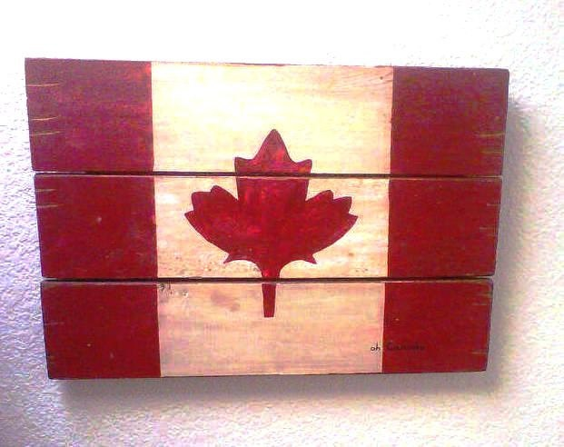 Reclaimed Wood Flag, Canadian Maple Leaf, Wooden Wall Hanging, Handmade Canada Flag red and white, Oh Canada