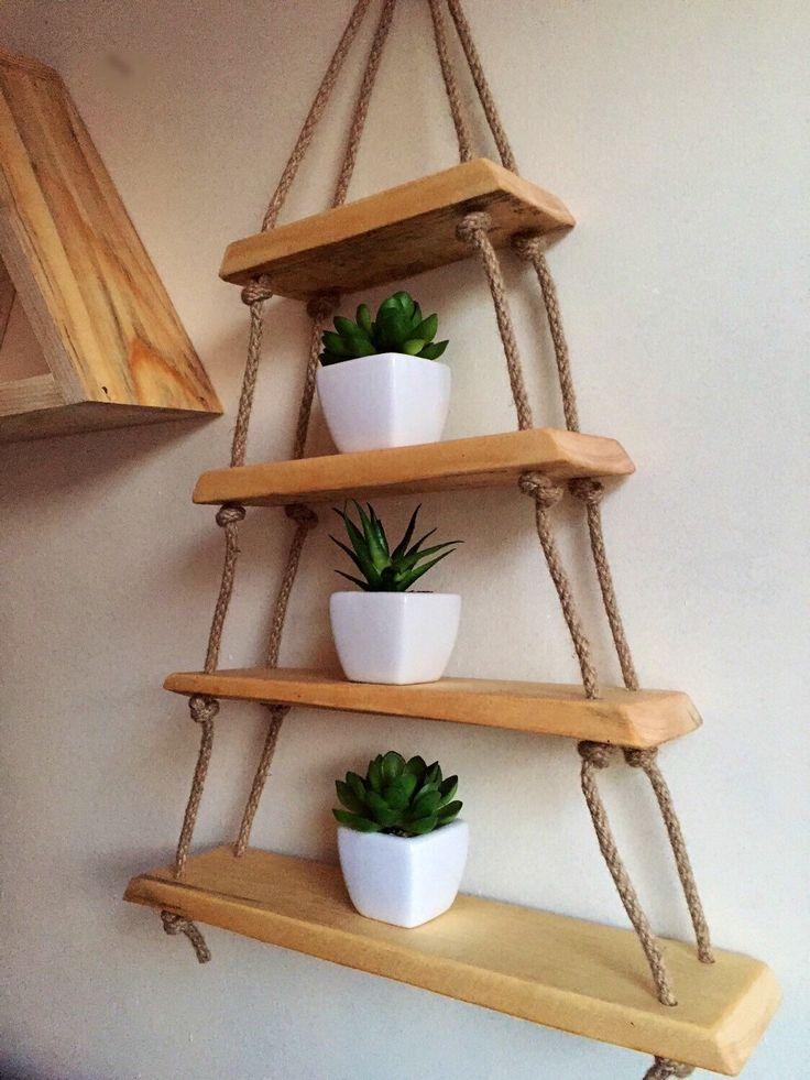 Hanging triangle shelf natural modern finish hemp rope shelf by Lovelifewood on Etsy https://www.etsy.com/listing/292260961/hanging-triangle-shelf-natural-modern
