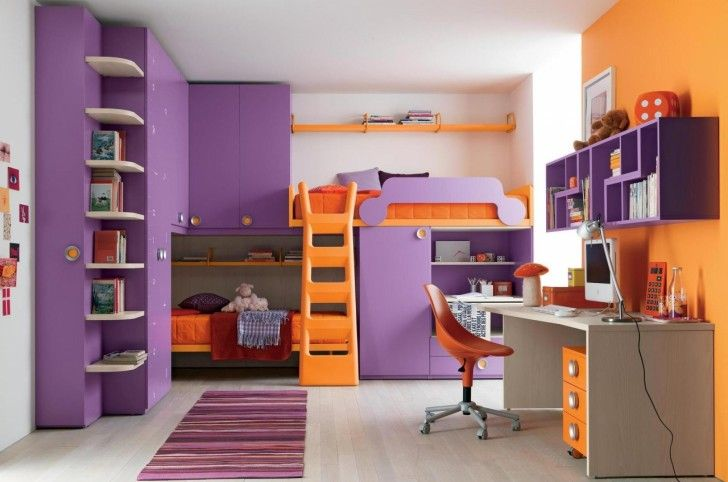 Beautiful Purple Girls Bedroom Ideas That Will Surprise You: Cute Purple Teen Bedroom Ideas Relaxing Interior Room Color Schemes Combining Orange Painting Wall With Loft Bunk Bed Feats Climb Stair Also Study Desk And Round Task Chair ~ wiligear.com Bedroom Design Inspiration