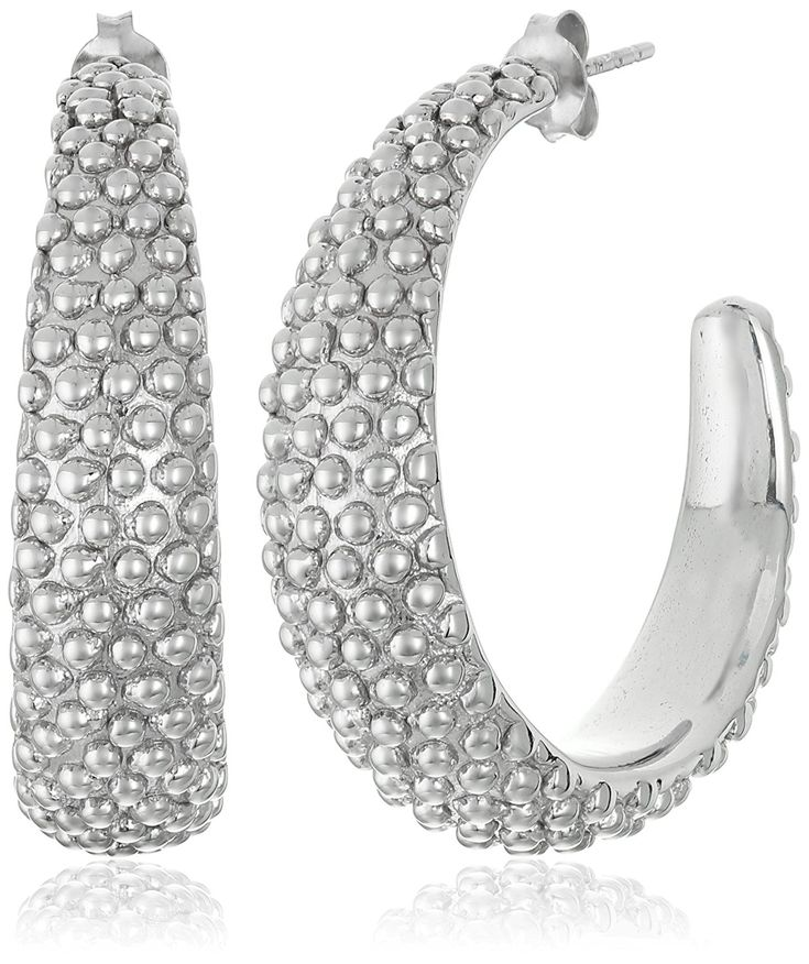 Sterling Silver Beaded Hoop Earrings >>> Visit the image link more details. (This is an Amazon Affiliate link and I receive a commission for the sales)
