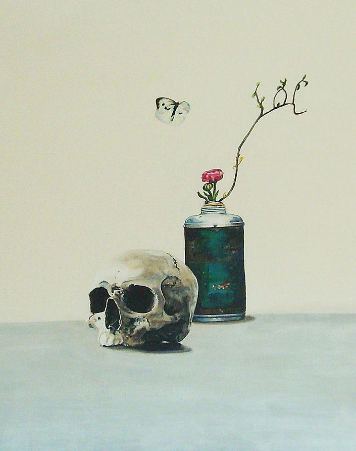 "Ute Latzke: Serenity (aus der Serie ""Vanitas Reloaded""). Acryl auf Leinwand. #utelatzke #Malerei #Acryl #Stillleben #mementomori #Vanitas #Vase #weiß #startyourart www.startyourart.de"