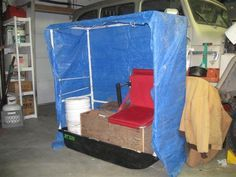 Homemade Portable Ice Fishing Shanty | Then the wooden gear box needed to cahnge and the stadium seat had ...