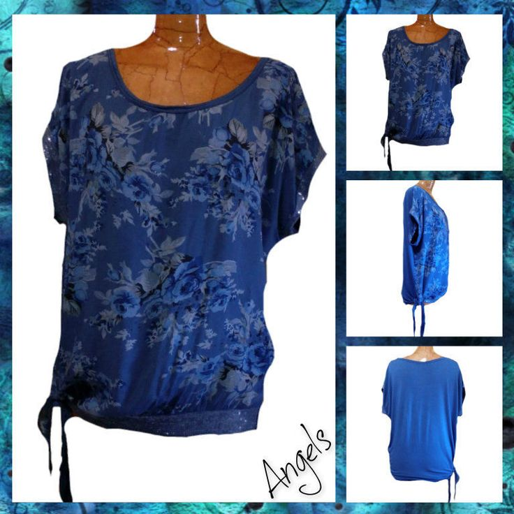 Maglia shirt donna  fraü femme con allacciatura sul fianco fantasia rose blu