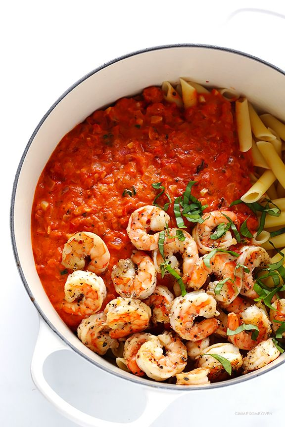 Shrimp Pasta with Creamy Tomato Basil Sauce -- simple to make, and so delicious and comforting   gimmesomeoven.com