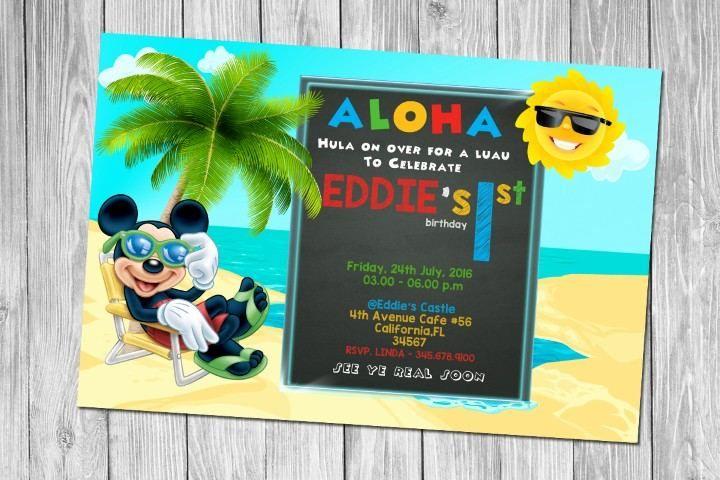 awesome Mickey Mouse Luau Summer Birthday Invitation PSD - Editable