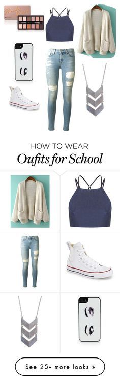 """School outfit "" by meliame-takai on Polyvore featuring Topshop, rag & bone, The 2 Bandits, Converse and Kate Spade"