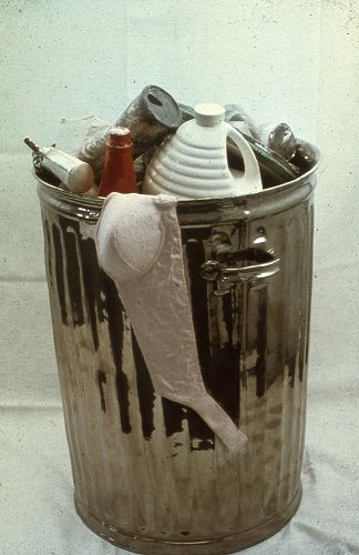 Victor Spinski was known for his replication of non-ceramic objects with his ceramic creations. Tin buckets, tools, garbage, underwear and pain were his favorite subjects, and his ceramic pieces reproduced these objects with startling realism.