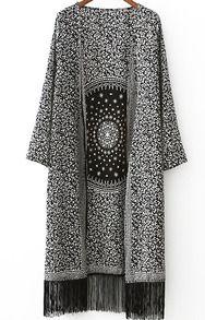 Kimono à frange fleur imprimé - Noir