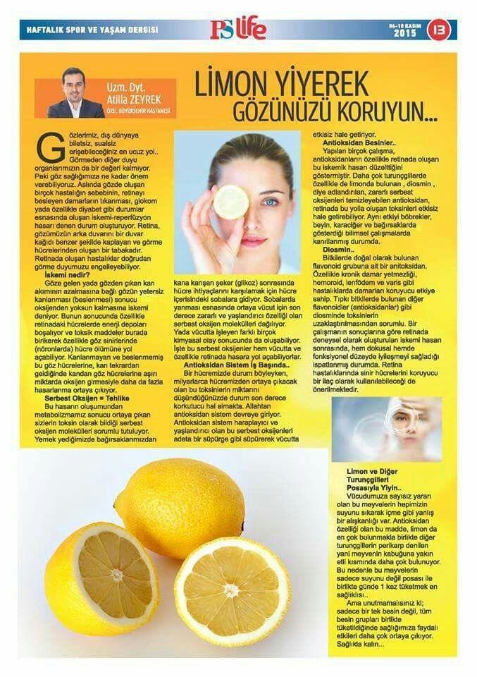 Limon ve Göz Sağlığınız..