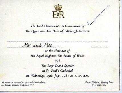 Royal Wedding Invitation Of Prince Charles And Lady Diana