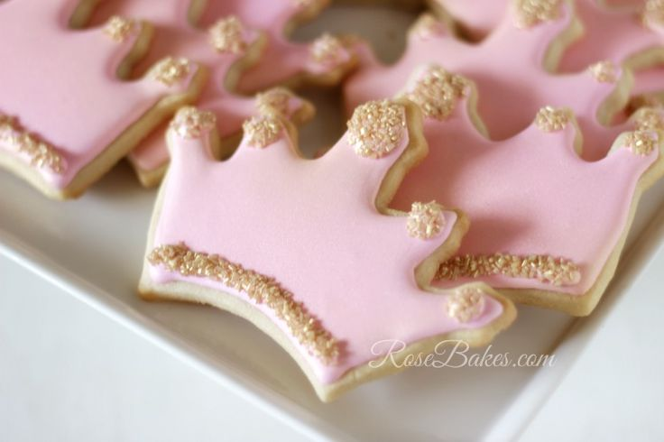 Pink and Gold Princess Cookies #crown #tiara