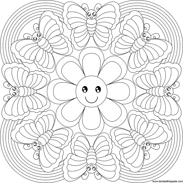 Rainbow Butterfly Mandala, Pattern Mandala, Free Printable Mandala Coloring Pages, Flower Mandala Black and White Template, lineart, mandala, printables, cool teen crafts
