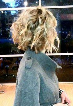 Short blond curly hair