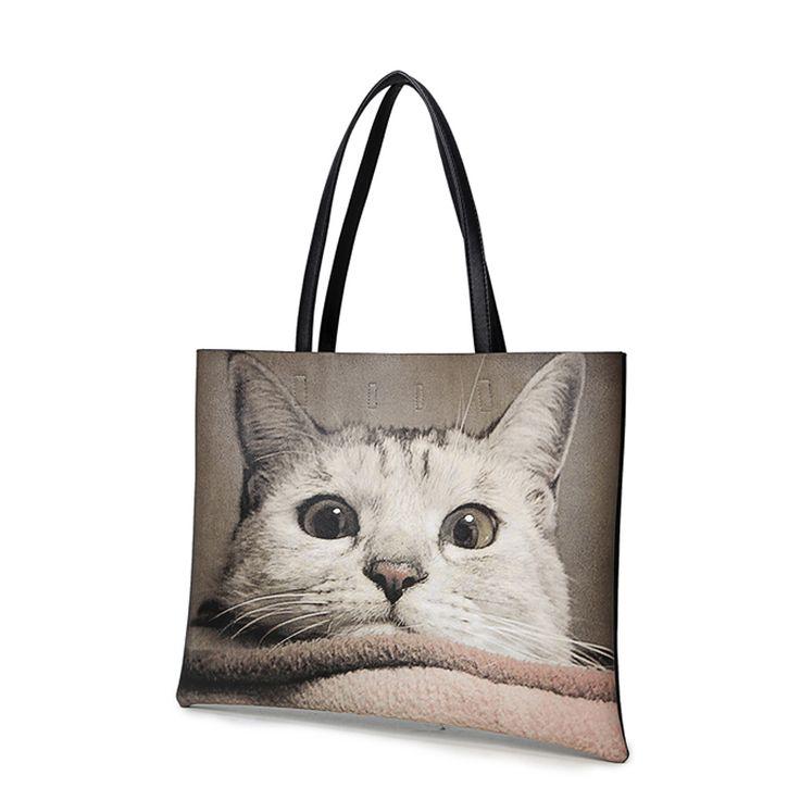 Животных печать сумки женщины сумки большой сумки хлопок большие сумки на ремне женский дамы кошка Bolsas купить на AliExpress