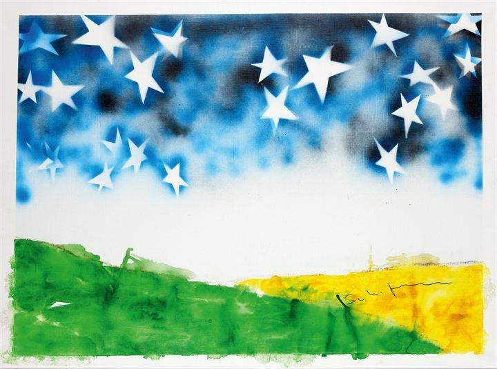 """SCHIFANO MARIO  """"Senza titolo"""" 1974-1975  80x120 smalto su tela  Opera firmata in basso a destra   Opera registrata presso l'Archivio dell'Opera di Mario Schifano-Fondazione M.S. Multistudio con il n. 74-75/220 in data 22 ottobre 2010"""