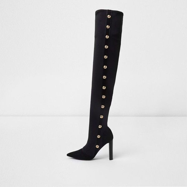River Island Black studded over the knee pointed boots ($170) ❤ liked on Polyvore featuring shoes, boots, black, shoes / boots, women, military boots, over the knee boots, black military boots, over-knee boots and high heel boots