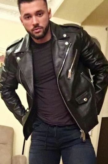 Totally classic black leather motorcycle jacket.