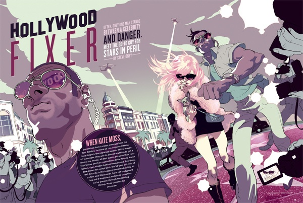 Illustration by Tomer Hanuka, art directed and designed by Cody Tilson for Playboy.