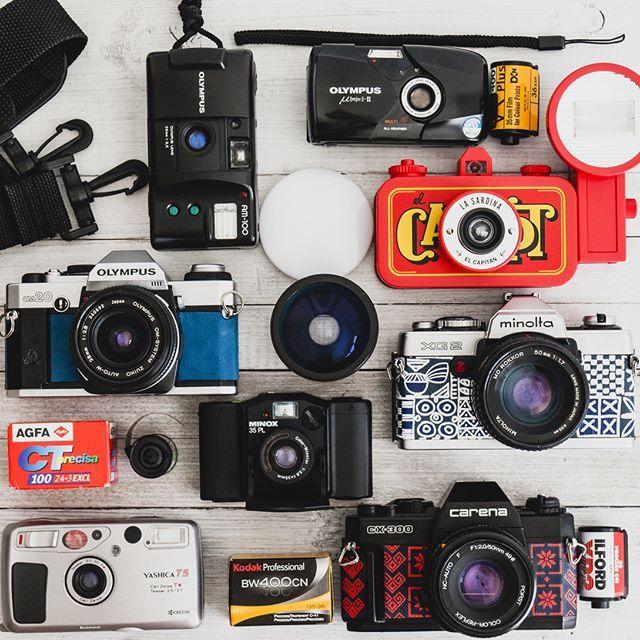 I'm going on a trip and this is the gear I'll be taking with me: 8 cameras, 8 films. I hope I shoot every single frame! #shootfilm #lomography #filmphotography #filmisnotdead #analog #filmcamera #filmfeed #filmcommunity #cameraporn #staybrokeshootfilm #filmphotographic #olympusmjuii #believeinfilm #istillshootfilm #buyfilmnotmegapixels #lasardina #olympusom #traditional #photographyislife #analogphotography #yashicat5 #35mmfilm