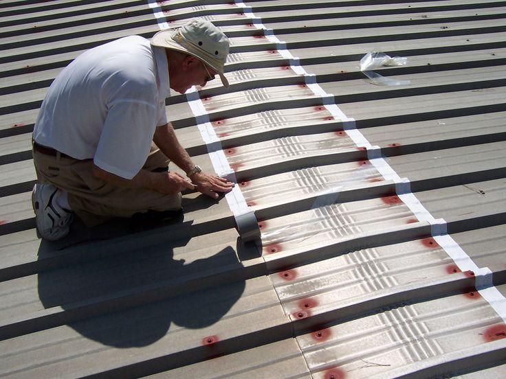 Applying Butyl Seam Tape to Metal Roof Ridge Cap Seam