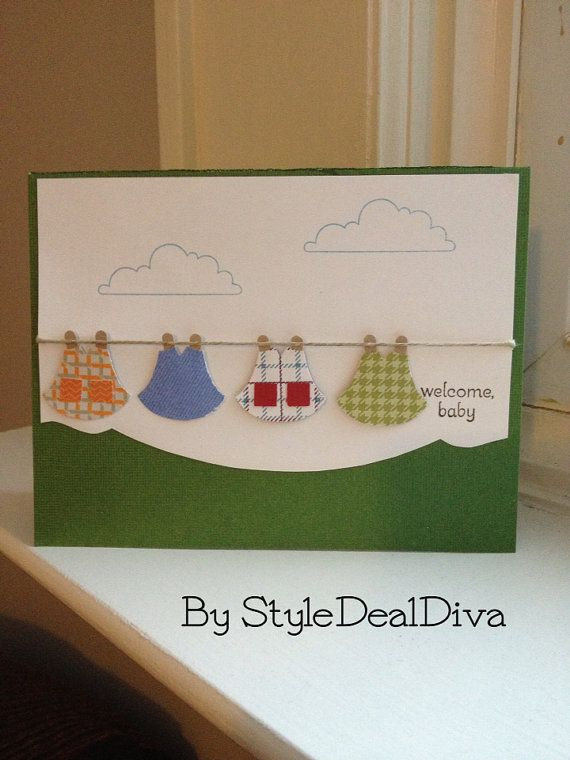 """Clothesline """"welcome, baby"""" card by StyleDealDiva on Etsy, $4.00 using Stampin' Up!'s Owl builder, slot and square punches and Out on a Limb and Petite Pairs stamp sets"""