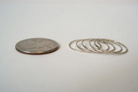 Sterling silver stacking rings set of 5  ultra thin by hannahnaomi, $24.00