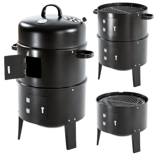 TecTake 3in1 BBQ Charcoal Barbecue Smoker with heat indicator