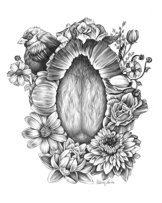 Signed, unframed print of a crowning baby with florals. Original done in graphite and ink.  8 x 10 inches. Grayscale archival inks printed on…