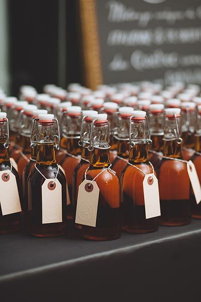 A Canadian bride and groom infused bottles of maple syrup with grappa (an Italian grape-based brandy) for a creative DIY twist.