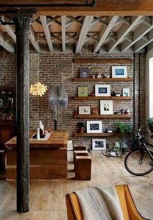 exposed brick and wood beams!